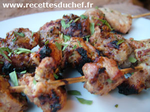 brochettes porc moutarde