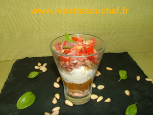 verrine chevre pesto